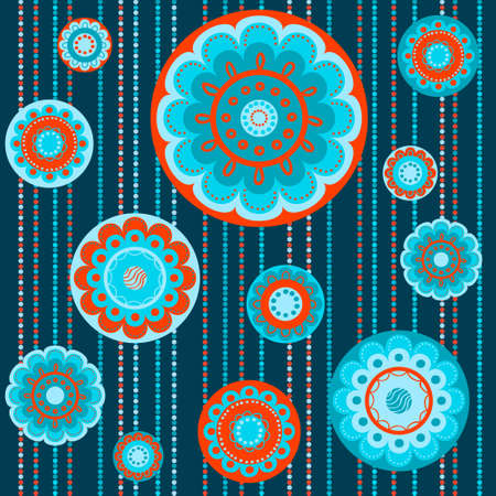 Abstract seamless colorful pattern with flowers in orange and turquiose