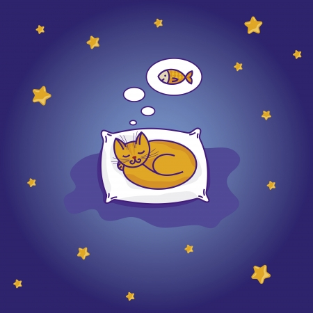 Cute little cat sleeping on pillow and dreaming of fish Vector