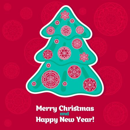 Christmas card - Merry Christmas and happy New Year Stock Vector - 16304243