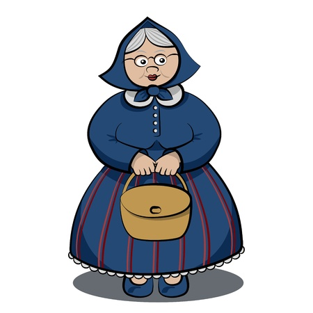 Cartoon Funny Granny holding bag in both hands