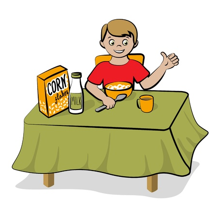 family eating: Small boy have a breakfast with a healthy food - corn flakes and milk Illustration