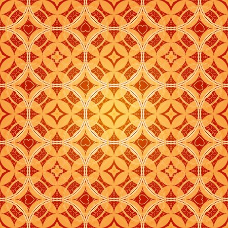 Abstract background pattern with hearts and circles, in orange colors photo