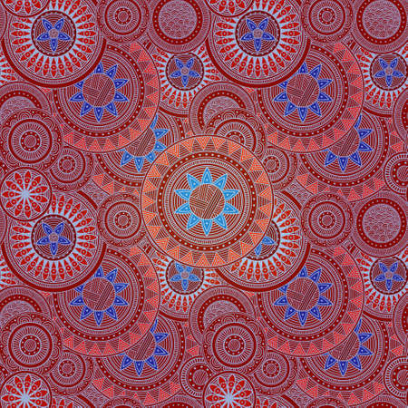 Pattern with abstract flowers, in red and blue, seamless Stock Photo - 16948342