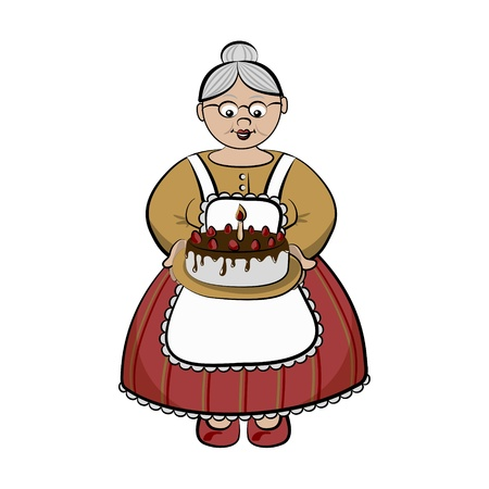 old kitchen: Old lady carry birthday cake with chocolate and strawberry