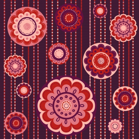 Abstract seamless colorful pattern with flowers in red and wine colors Stock Vector - 17000094