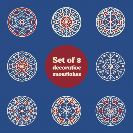 let it snow: Set of 8 decorative abstract snowflakes, hand-drawn