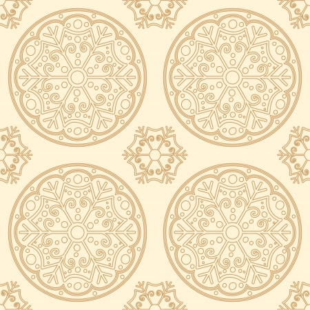 Seamless abstract snowflakes background in golden colors Stock Vector - 17034532