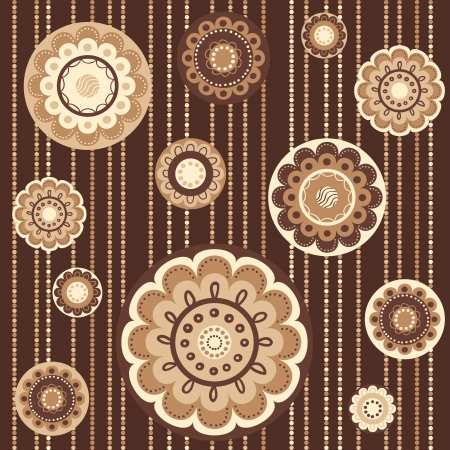 Pattern with abstract flowers in brown colors, seamless vector background Vector