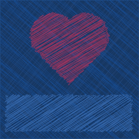 Valentines Day Card in scribbled lines Vector