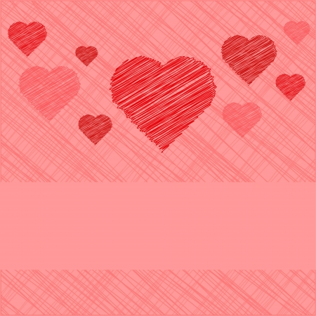 Valentine's Day Card in scribbled lines, in coral and pink colors Stock Vector - 17164221