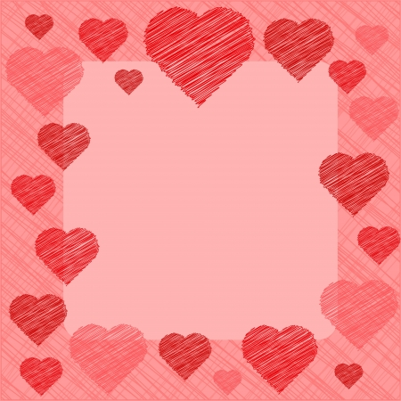 Valentine's Day Card in scribbled lines, in coral and pink colors Stock Vector - 17164214
