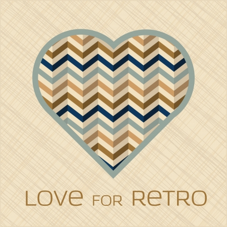 Heart with pattern filling in retro colors Vector
