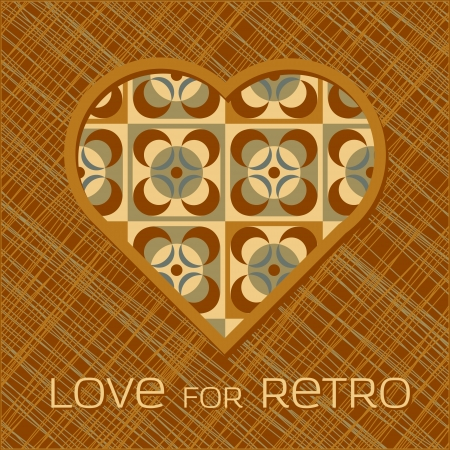 filling in: Heart with pattern filling in retro colors Illustration