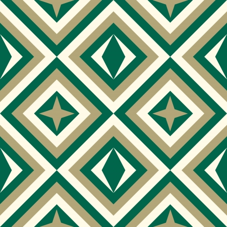 Geometrical pattern in viridian&golden colors, seamless vector background. For fashion textile, cloth, backgrounds.