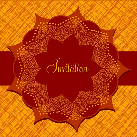 indian summer: Invitation card with abstract flower with nine petals, in bright orange colors