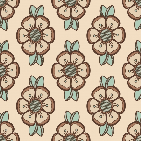 Geometrical pattern with flowers  retro colors, seamless background. For fashion textile, cloth, backgrounds.  イラスト・ベクター素材