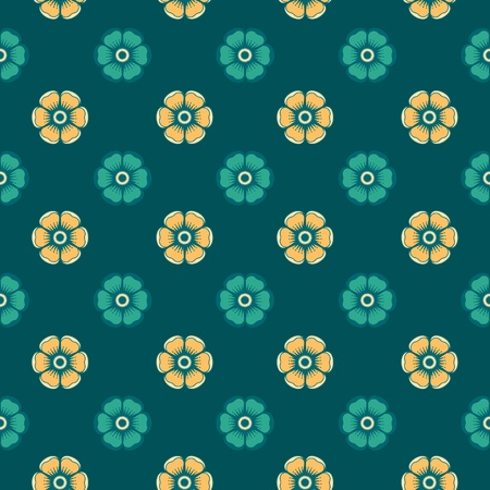 Geometrical pattern with flowers in green and light-yellow colors, seamless  background. For fashion textile, cloth, backgrounds. Illustration