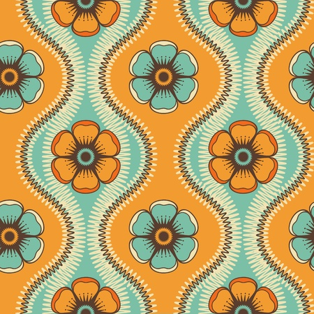 Geometrical pattern with flowers in green and orange colors, seamless background. For fashion textile, cloth, backgrounds.