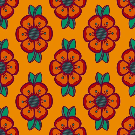 Geometrical pattern with abstract flowers in green and orange colors, seamless vector background  For fashion textile, cloth, backgrounds  Illustration