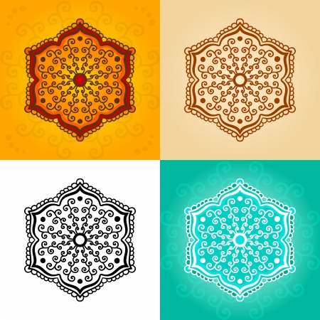 Abstract flower for henna tattoo  Set in four colors  Vector