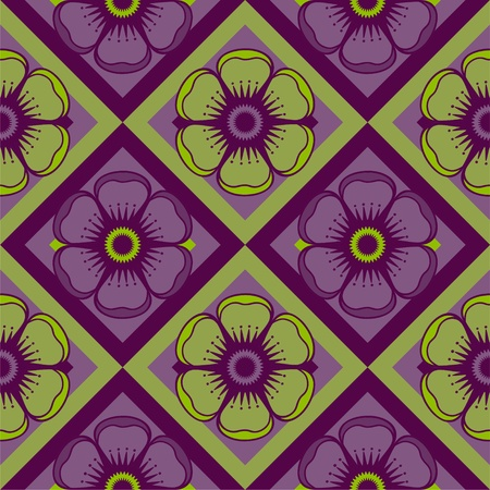 Geometrical pattern with abstract flowers in green and purple color, seamless background   Illustration