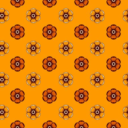 Geometrical pattern with abstract flowers in orange colors, seamless vector background  For fashion textile, cloth, backgrounds Stock Vector - 17542635