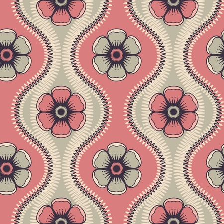 Geometrical pattern with abstract flowers in retro colors, seamless vector background  For fashion textile, cloth, backgrounds