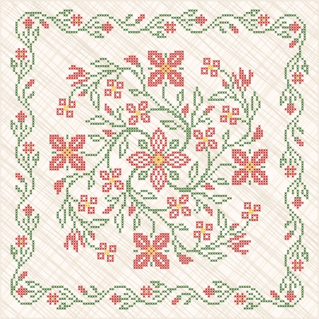 cross stitch: Punto de cruz bordado en estilo �tnico ucraniano tradicional