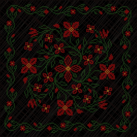 Cross-stitch embroidery in Ukrainian traditional ethnic style, on black background