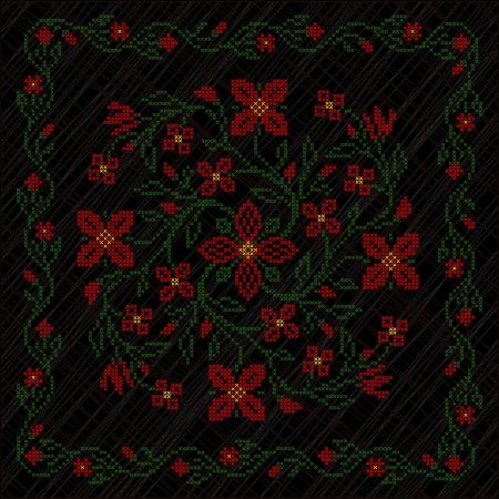 ukraine folk: Cross-stitch embroidery in Ukrainian traditional ethnic style, on black background
