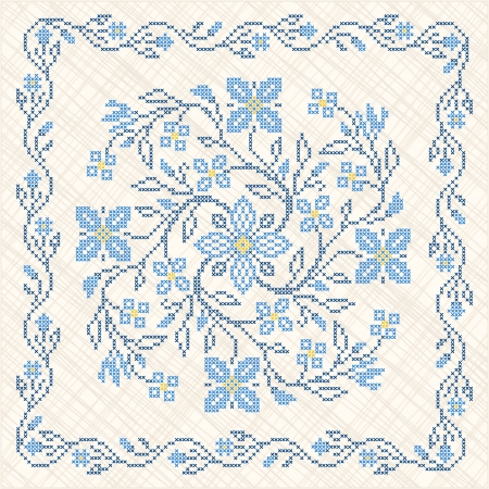 Cross-stitch embroidery in Ukrainian traditional ethnic style  イラスト・ベクター素材