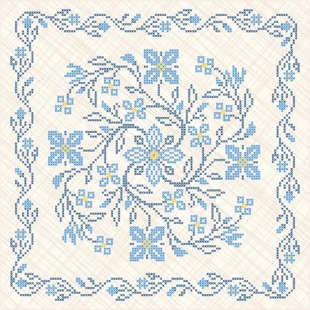 punto cruz: Punto de cruz bordado en estilo �tnico ucraniano tradicional