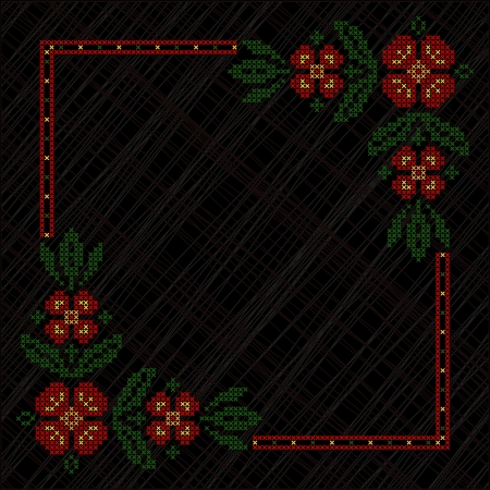 Cross-stitch embroidery in Ukrainian traditional ethnic style, on black background Vector