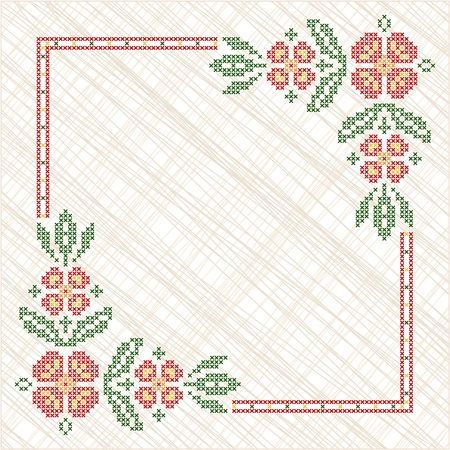 Cross-stitch embroidery in Ukrainian traditional ethnic style Vector