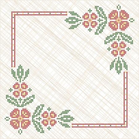 ukraine folk: Cross-stitch embroidery in Ukrainian traditional ethnic style Illustration