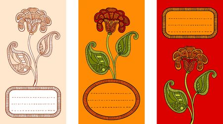 happy birtday: Floral design in orange colors for invitation, greeting card, cover, banner. 3 cards set. Illustration
