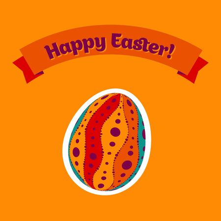 Colorful Easter card design with eggs and banner. Vector