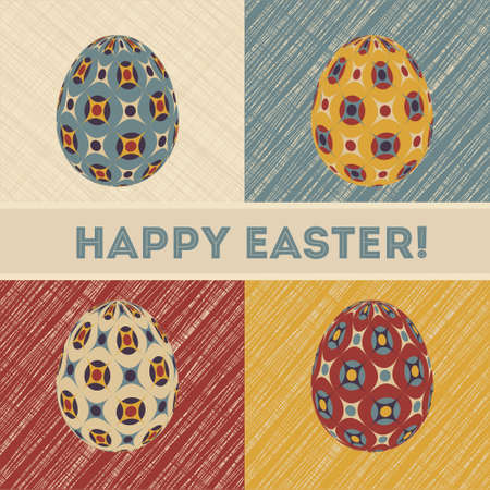 Easter card in retro colors design with patterned eggs and banner  Stock Vector - 17981592