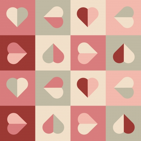 repeat square: Geometrical pattern with hearts in soft colors, seamless vector background for valentine