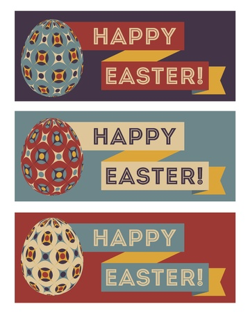 Set of three easter banners in retro colors Illustration