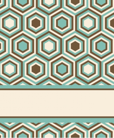 template for invitation or card design with fashion geometrical pattern in retro colors.