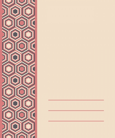 hex: template for invitation or card design with fashion geometrical pattern in retro colors. Illustration