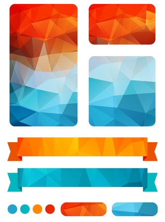 Set of colorful design elements  with abstract geometric background with triangular polygons 免版税图像 - 18705941