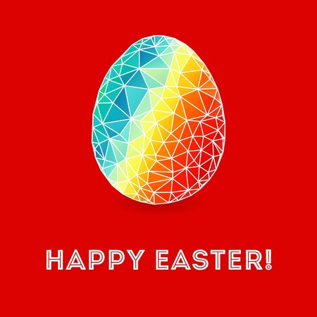 Colorful Easter egg on bright red background Vector