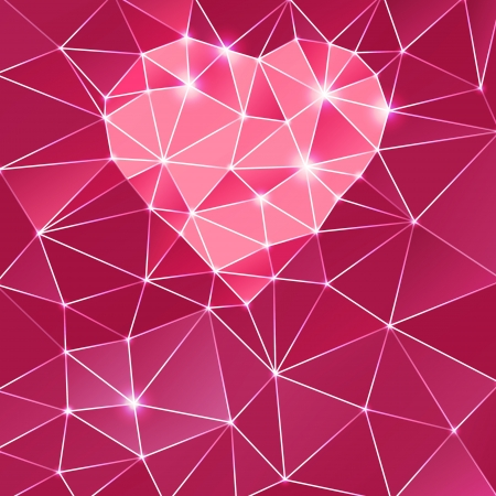Abstract background with heart and triangle polygons  Stock Photo