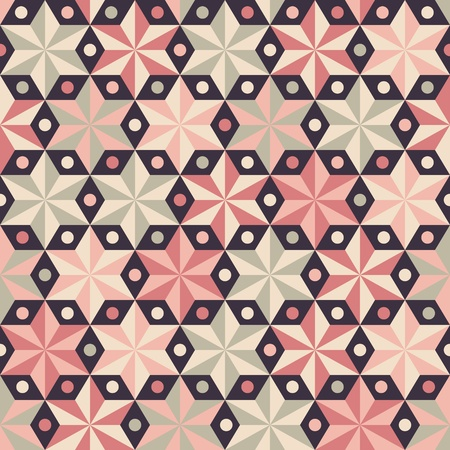 Anise stars seamless vector pattern in warm pink colors. Seamless vector background for Christmas wrap paper or fashion cloth.