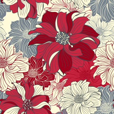 Hand-drawn flowers of dahlia. Seamless vector background in dark-red and gray colors. Vector