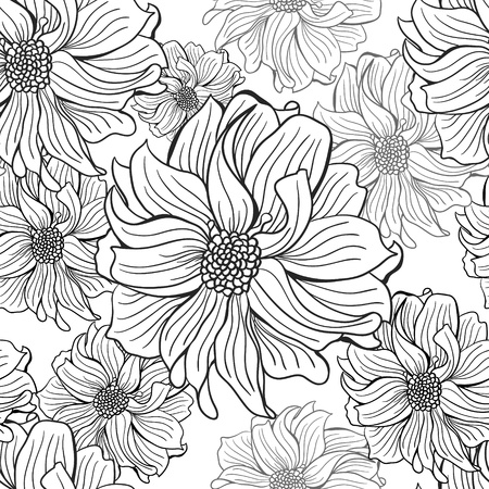 Hand-drawn flowers of dahlia. Seamless vector background in black and white colors. Vector