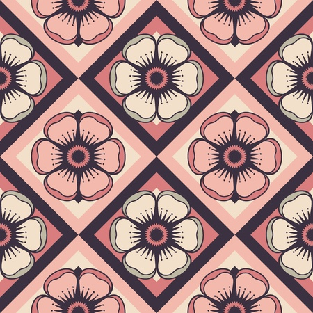 Geometrical pattern with abstract flowers in soft pink color, seamless vector background  For fashion textile, cloth, backgrounds