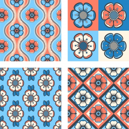 Set of geometrical pattern with abstract flowers, seamless vector background  For fashion textile, cloth, backgrounds  Vector